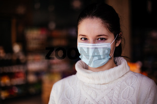 Public service takes care of customers using protective masks