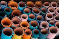 colorful leather sample rolls -