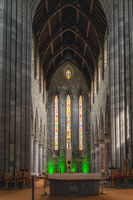 Closeup on main altar and stained glass behind it in St. Marys Cathedral