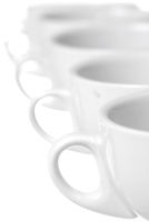 Row of coffee cups. Focus on 1st Cup. Copy Space.