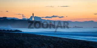 Biarritz lighthouse at sunset, France