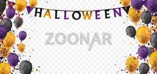 Halloween Balloons Confetti Transparent Header