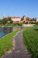 Wawel Castle in Krakow at Vistula River