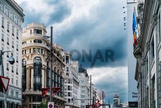 Cityscape of Gran Via Avenue in Madrid