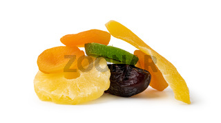 Dried fruits isolated over white background.