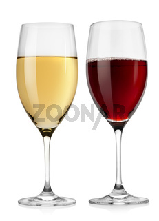 Red wine glass and white wine glass