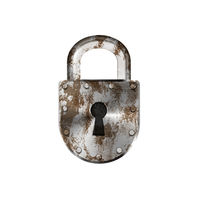 Rusty vintage metal lock on white