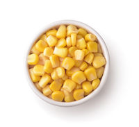 Sweet canned corn in ceramic bowl