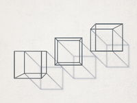 Three metal cubes with shadows 3D