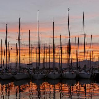 Saint-Tropez, Yachthafen im Abendlicht, Cote d'Azu