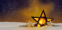 Shining Christmas star at night