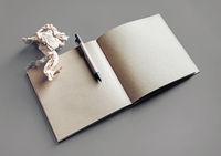 Sketchbook, pen, crumpled paper