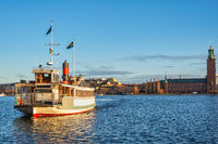 Stockholm Sweden, city skyline at Stockholm City Hall and Metro ferry