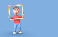 3D Cartoon Character into a Picture Frame on Blue Background with Copy Space