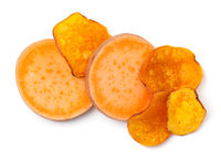 Vegan Sweet Potato Slices And Chips Isolated