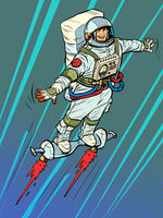 an autronaut on a space jet hoverboard. Science fiction