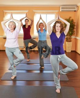 Frauen machen Yogakurs im Fitnesscenter