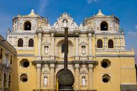 Stone cross in front of 'La Merced' church in Antigua, Guatemala