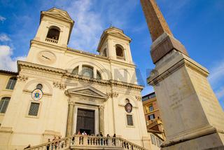 Trinità dei Monti Church at the top of Spanish Steps in Rome, Italy