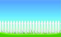 White Fence On Blue Sky Background