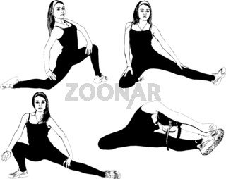 Athletic, slender girl does exercises to stretch the muscles