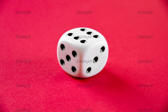 White dice isolated on pink background
