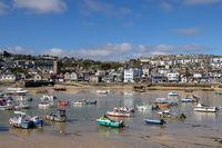 ST IVES, CORNWALL, UK - MAY 13 : View of boats at St Ives, Cornwall on May 13, 2021