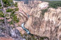 Lower falls of the yellowstone national park from artist point at sunset, wyoming in the usa
