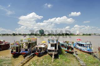 tourist boats on phnom penh riverside cambodia