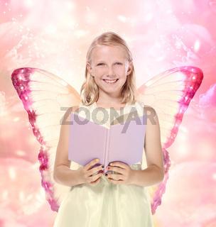 Little Blonde Girl Reading a Book - Fantasy