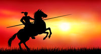 Knight on a horse on the background of a sunny sunset