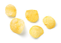 Salty Potato Chips Isolated On White Background