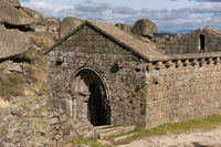 Monsanto church ancient old ruins of Sao Miguel church chapel near the castle, in Portugal