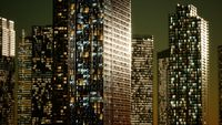 Skyscrapper in the business quarter in the night