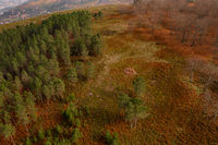 Drone above aerial landscape view of trees during Fall in Mondim de Basto, Portugal