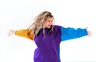 Real caucasian woman with dreadlocks hairstyle