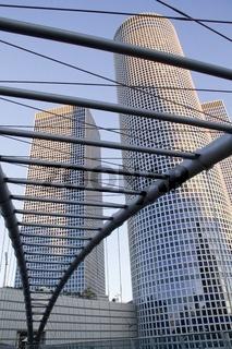View through sky-walk bridge to scyscrapers