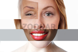 composite face made of multi-ethnic women of different ages