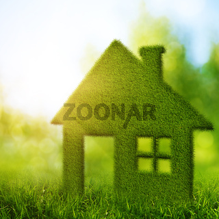 Eco House. Abstract environmental backgrounds with beauty bokeh