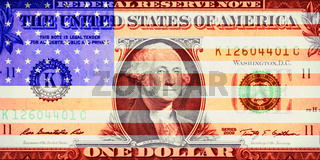 Collage 1 Dollar Note mit US Flagge