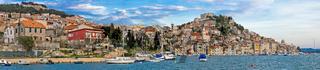 Historic town of Sibenik waterfront panorama