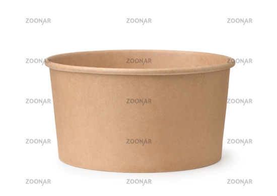 Front view of empty brown disposable paper bucket