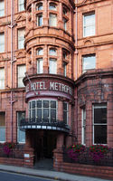front entrance of the historic metropole hotel on king street in leeds city centre