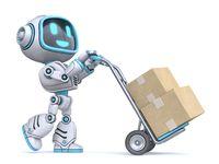 Cute blue robot push hand truck 3D