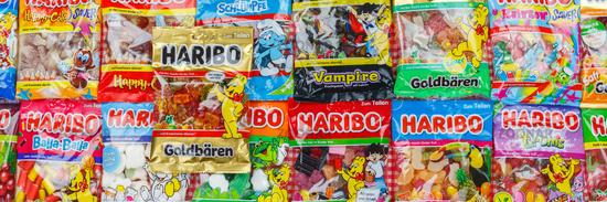 Haribo Gummibärchen Gummibären verschiedene Sorten Hintergrund Banner
