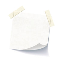White empty note attached with adhesive tape
