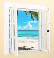 wooden open window overlooking the tropics
