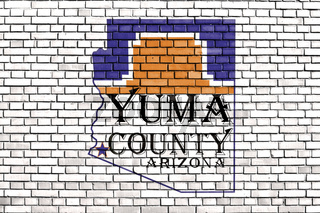 flag of Yuma County, Arizona painted on brick wall