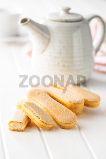 Italian cookie savoiardi. Sweet biscuits. Sponge cookies tiramisu.