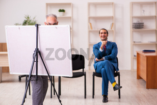 Two male employees in business meeting concept